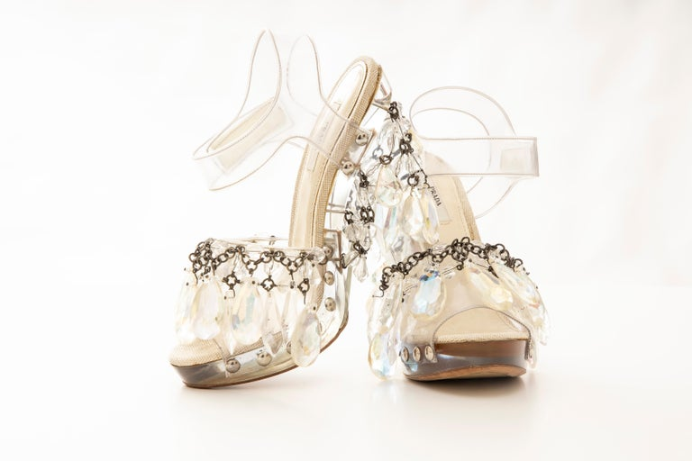 Prada Runway Clear PVC Lucite Faceted Crystal Platform Sandals, Spring 2010 4
