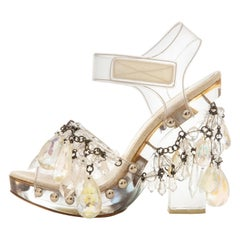 Prada Runway Clear PVC Lucite Faceted Crystal Platform Sandals, Spring 2010