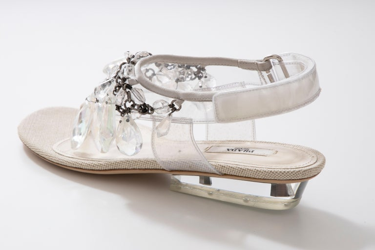 Prada Runway Clear PVC Lucite Faceted Crystal Thong Sandals, Spring 2010 For Sale 6