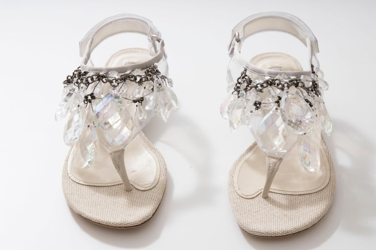 Prada Runway Clear PVC Lucite Faceted Crystal Thong Sandals, Spring 2010 For Sale 7