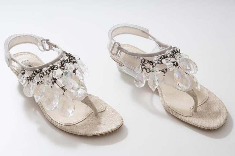 Prada Runway Clear PVC Lucite Faceted Crystal Thong Sandals, Spring 2010 For Sale 8