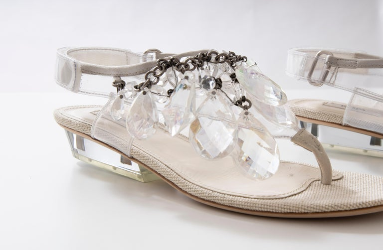Prada Runway Clear PVC Lucite Faceted Crystal Thong Sandals, Spring 2010 For Sale 9