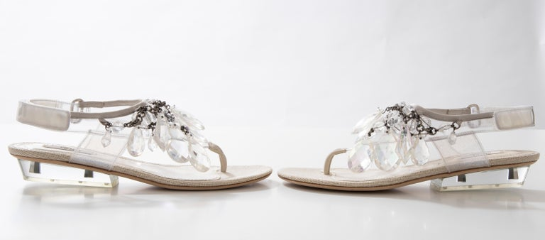 Prada Runway Clear PVC Lucite Faceted Crystal Thong Sandals, Spring 2010 For Sale 10