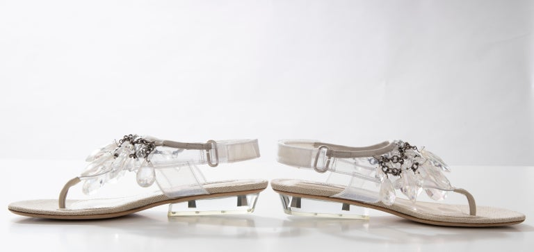 Prada Runway Clear PVC Lucite Faceted Crystal Thong Sandals, Spring 2010 For Sale 11