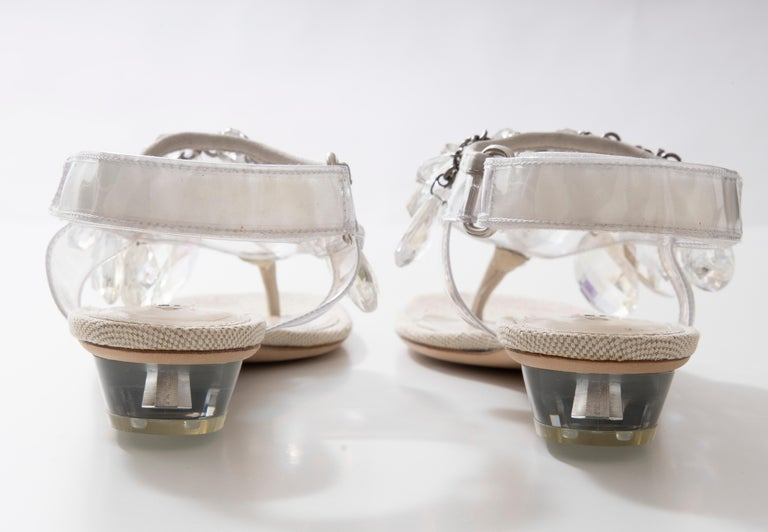 Prada Runway Clear PVC Lucite Faceted Crystal Thong Sandals, Spring 2010 For Sale 12