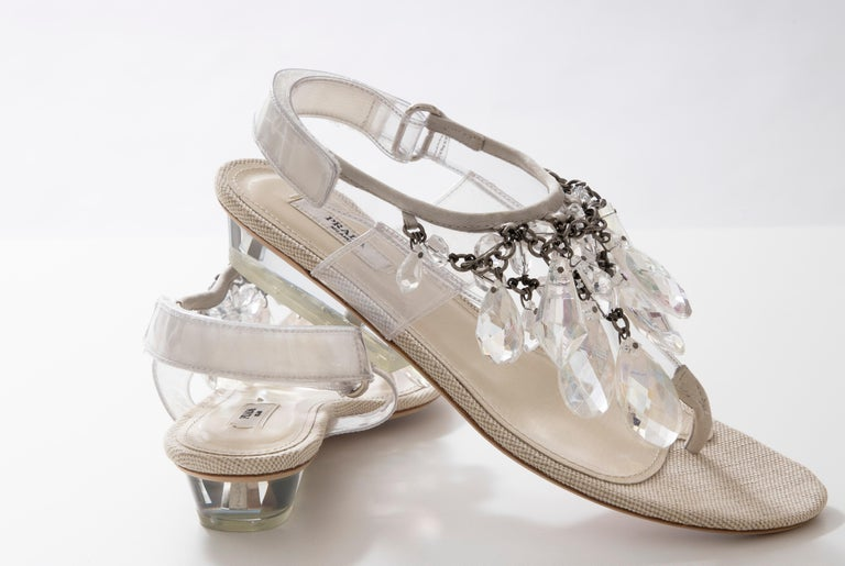 Prada Runway Clear PVC Lucite Faceted Crystal Thong Sandals, Spring 2010 For Sale 13