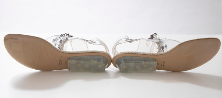 Prada Runway Clear PVC Lucite Faceted Crystal Thong Sandals, Spring 2010 For Sale 14