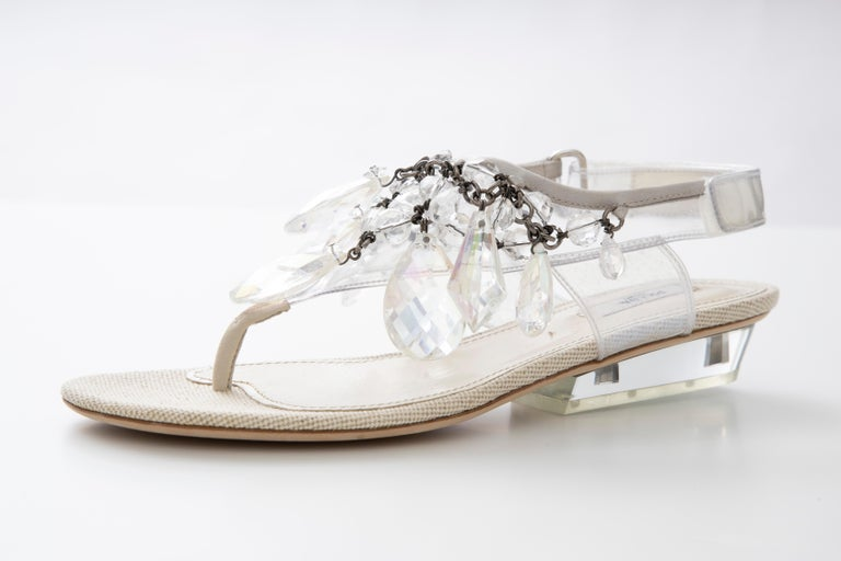 Prada Runway Clear PVC Lucite Faceted Crystal Thong Sandals, Spring 2010 For Sale 15