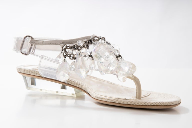 Prada Runway Runway Spring 2010 Clear PVC Prada thong sandals with faceted crystal at uppers, lucite heels and buckle closure at ankles.   Includes dust bag and box.  IT. 38, US. 8  Heels: 1.25