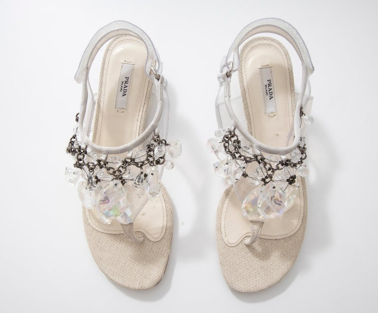 Prada Runway Clear PVC Lucite Faceted Crystal Thong Sandals, Spring 2010 For Sale 16