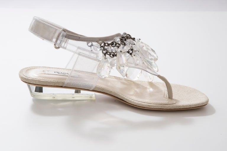 Women's Prada Runway Clear PVC Lucite Faceted Crystal Thong Sandals, Spring 2010 For Sale