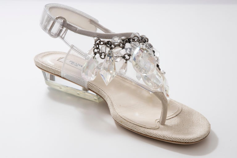 Prada Runway Clear PVC Lucite Faceted Crystal Thong Sandals, Spring 2010 For Sale 1