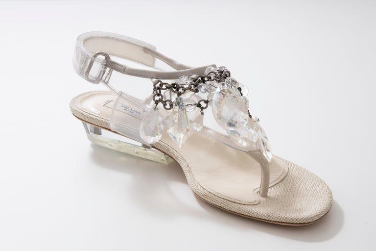 Prada Runway Clear PVC Lucite Faceted Crystal Thong Sandals, Spring 2010 For Sale 2