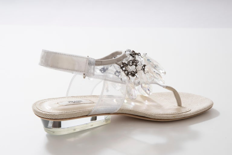 Prada Runway Clear PVC Lucite Faceted Crystal Thong Sandals, Spring 2010 For Sale 3