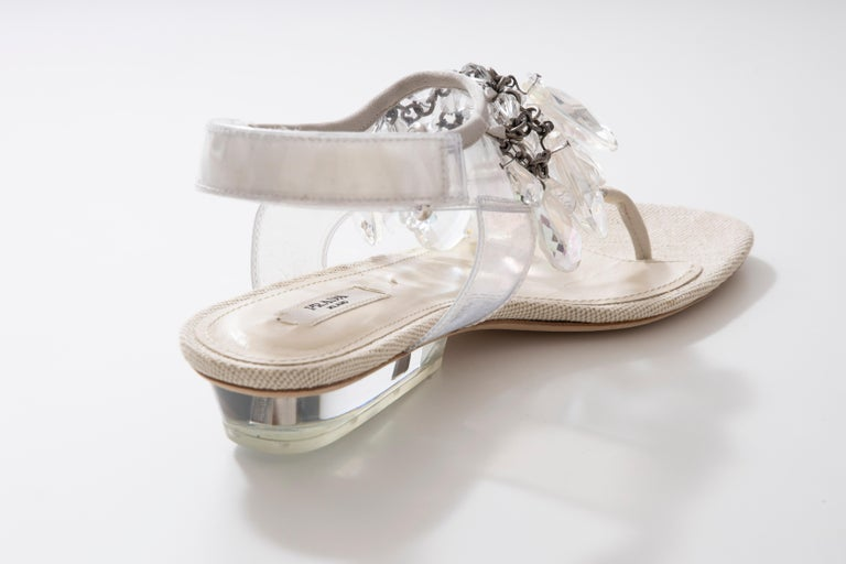Prada Runway Clear PVC Lucite Faceted Crystal Thong Sandals, Spring 2010 For Sale 4