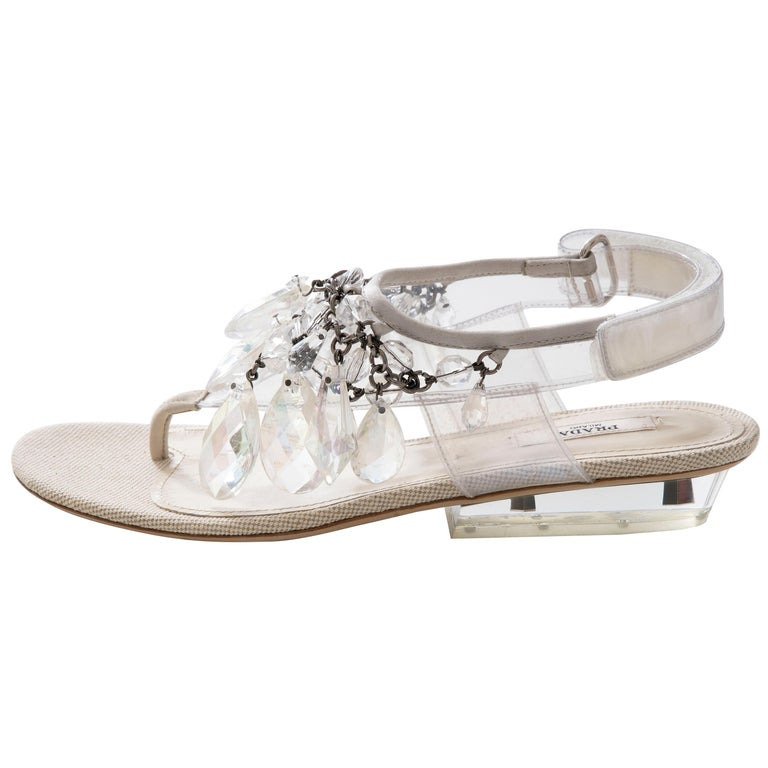 Prada Runway Clear PVC Lucite Faceted Crystal Thong Sandals, Spring 2010 For Sale