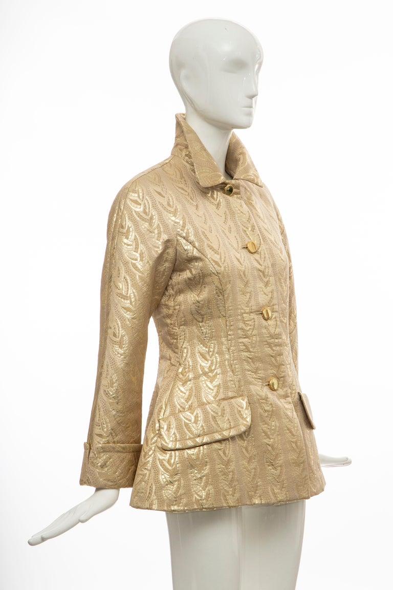 Women's Prada Runway Gold Brocade Evening Jacket, Fall 1992 For Sale
