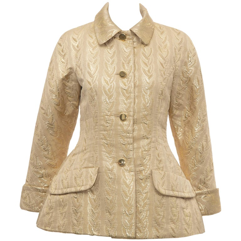 Prada Runway Gold Brocade Evening Jacket, Fall 1992 For Sale