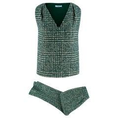 Prada Runway Green Tweed Sleeveless Top & Trousers XXS
