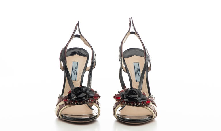Prada Runway Jewel Taillight Wedge Sandal, Spring 2012 For Sale 11