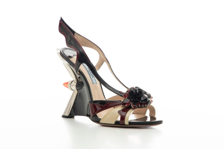 Black Prada Runway Jewel Taillight Wedge Sandal, Spring 2012 For Sale