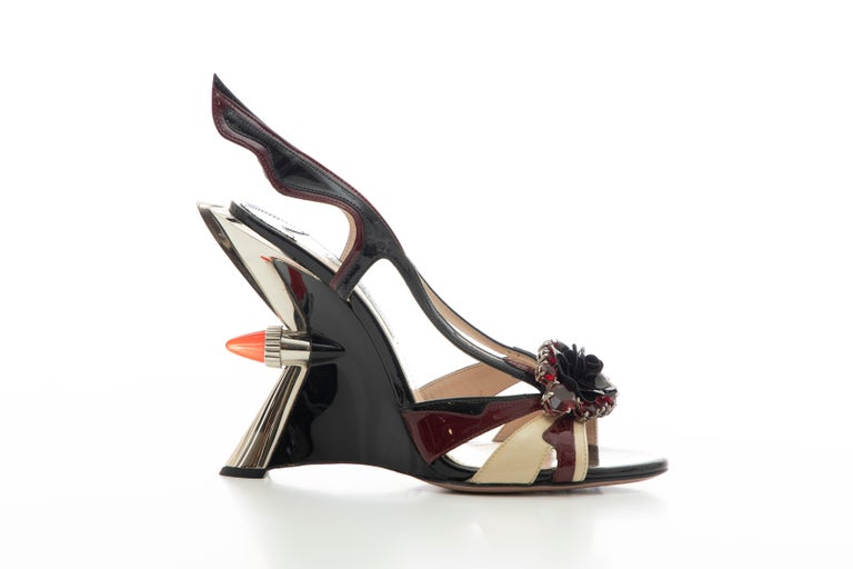 Prada Runway Jewel Taillight Wedge Sandal, Spring 2012 In Excellent Condition For Sale In Cincinnati, OH