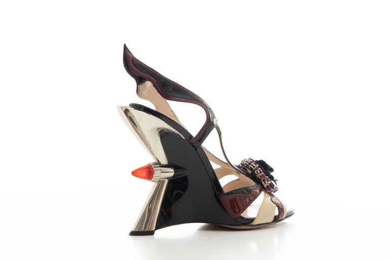 Women's Prada Runway Jewel Taillight Wedge Sandal, Spring 2012 For Sale