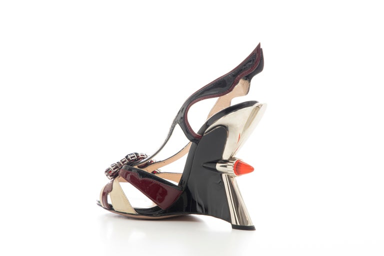 Prada Runway Jewel Taillight Wedge Sandal, Spring 2012 For Sale 2