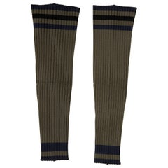 Prada Runway Olive Green Navy Blue Black Stripe Viscose Leg Warmers, Spring 2014