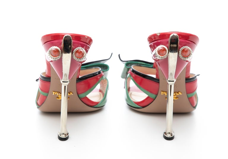 Prada Runway Patent Leather Tail Light Sandal, Spring 2012 For Sale 12