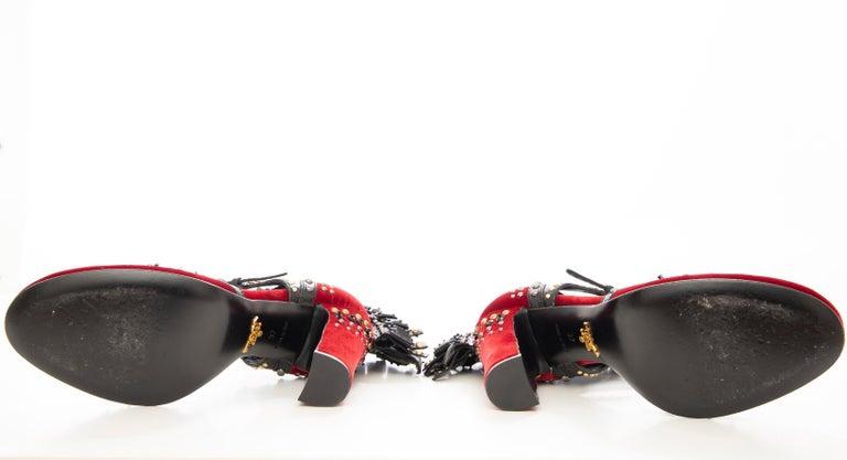 Prada Runway Red Velvet Black Studded Crystal Leather Mohawk Pumps, Fall 2009 For Sale 10