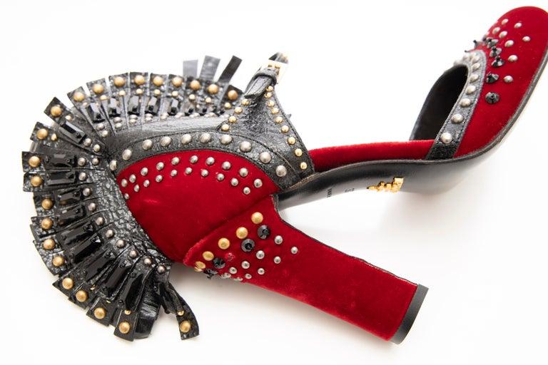 Prada Runway Red Velvet Black Studded Crystal Leather Mohawk Pumps, Fall 2009 For Sale 12