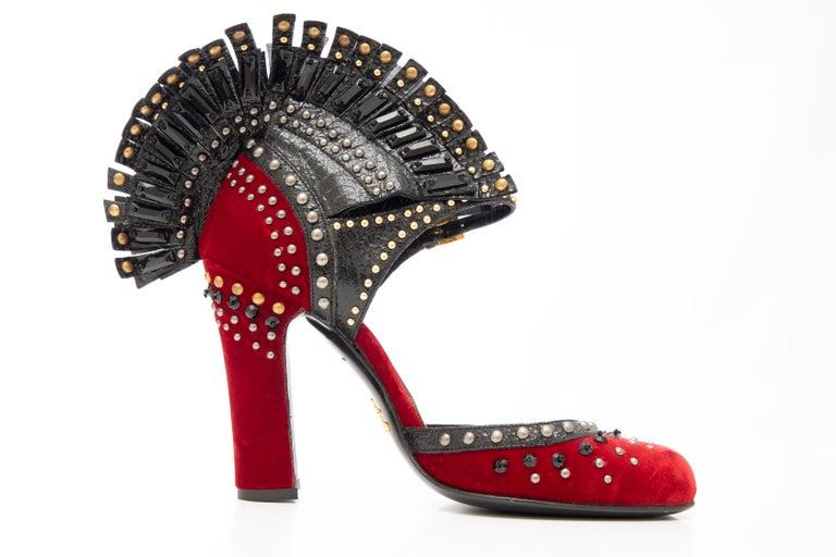 Prada Runway Red Velvet Black Studded Crystal Leather Mohawk Pumps, Fall 2009 For Sale 1