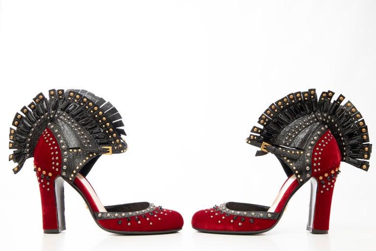 Prada Runway Red Velvet Black Studded Crystal Leather Mohawk Pumps, Fall 2009 For Sale 5
