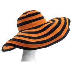 Prada Runway Striped Orange & Black Wide Brim Hat, Spring 2011