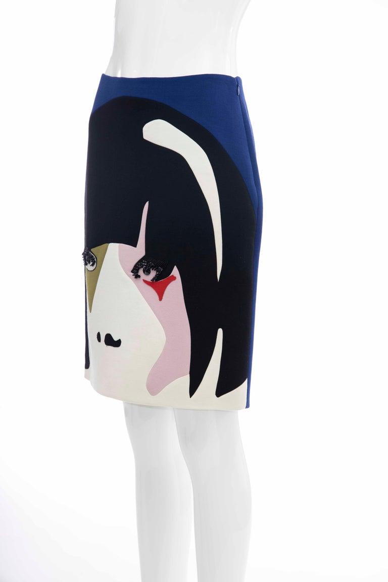 Prada Runway Virgin Wool Silk Bead Embroidery Pencil Skirt, Spring 2014 For Sale 5