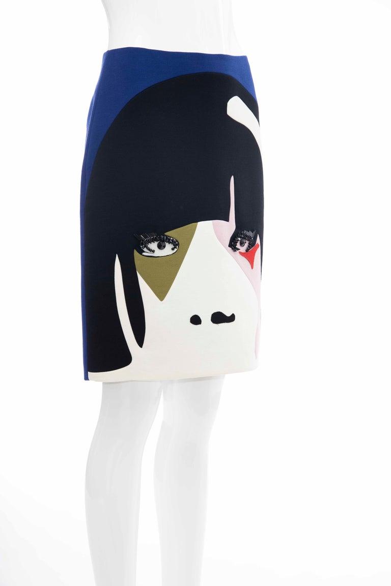 Women's Prada Runway Virgin Wool Silk Bead Embroidery Pencil Skirt, Spring 2014 For Sale