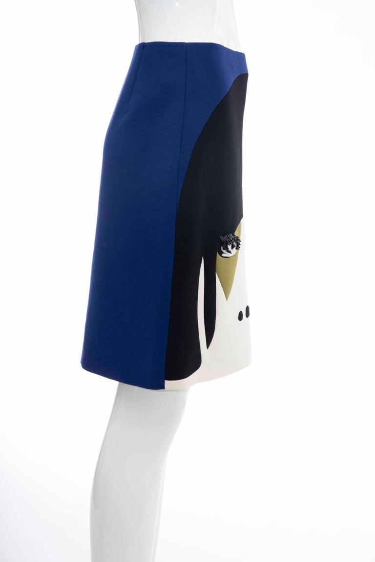 Prada Runway Virgin Wool Silk Bead Embroidery Pencil Skirt, Spring 2014 For Sale 1