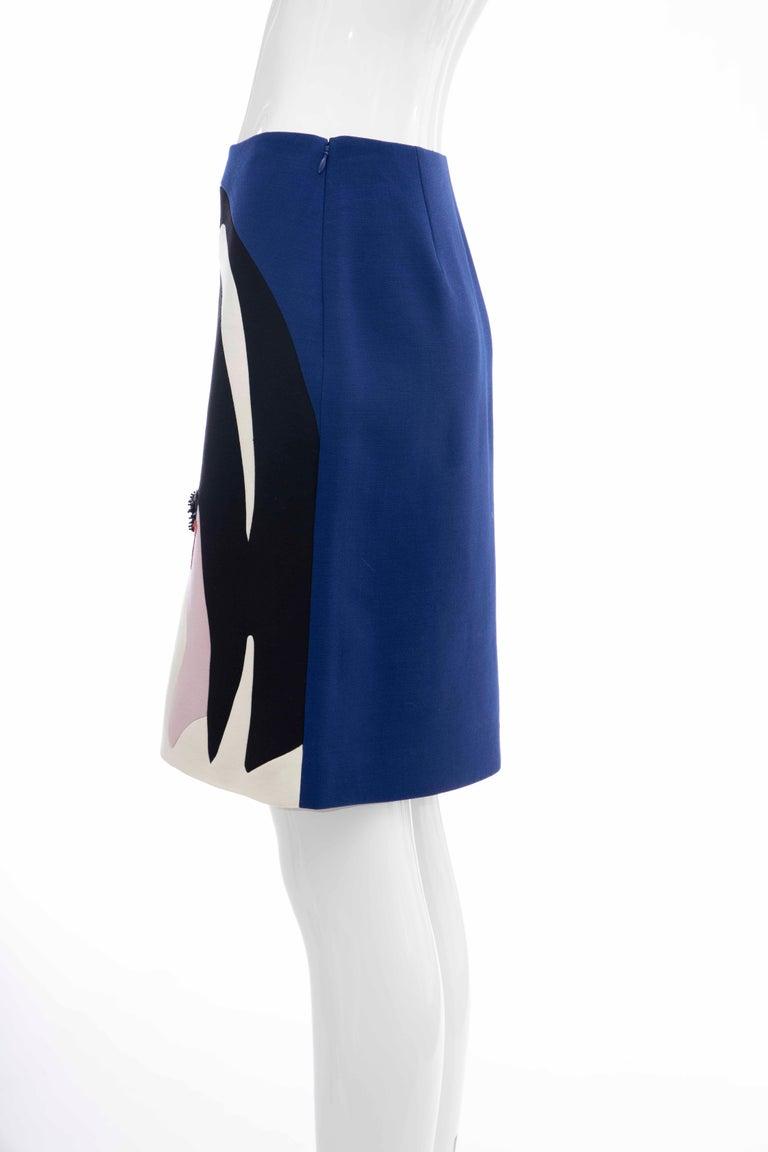 Prada Runway Virgin Wool Silk Bead Embroidery Pencil Skirt, Spring 2014 For Sale 4