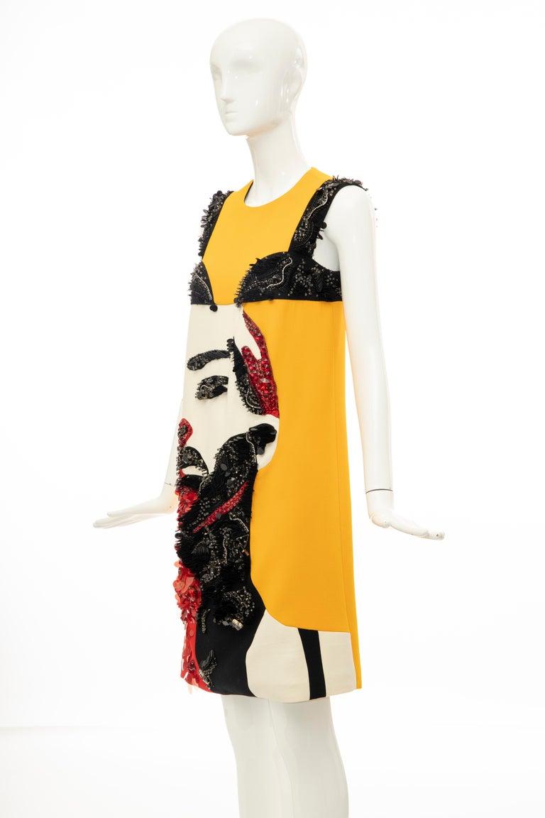 Prada Runway Wool Silk Sleeveless Bead Embroidery Shift Dress, Spring 2014 10