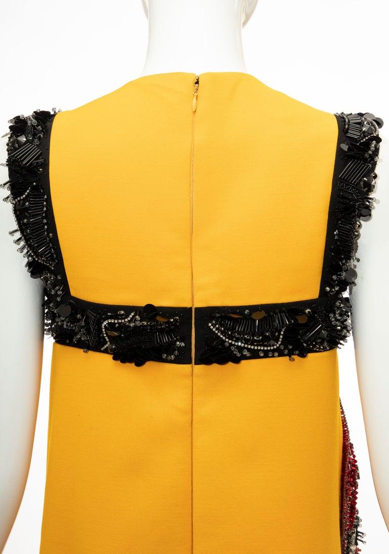 Prada Runway Wool Silk Sleeveless Bead Embroidery Shift Dress, Spring 2014 12
