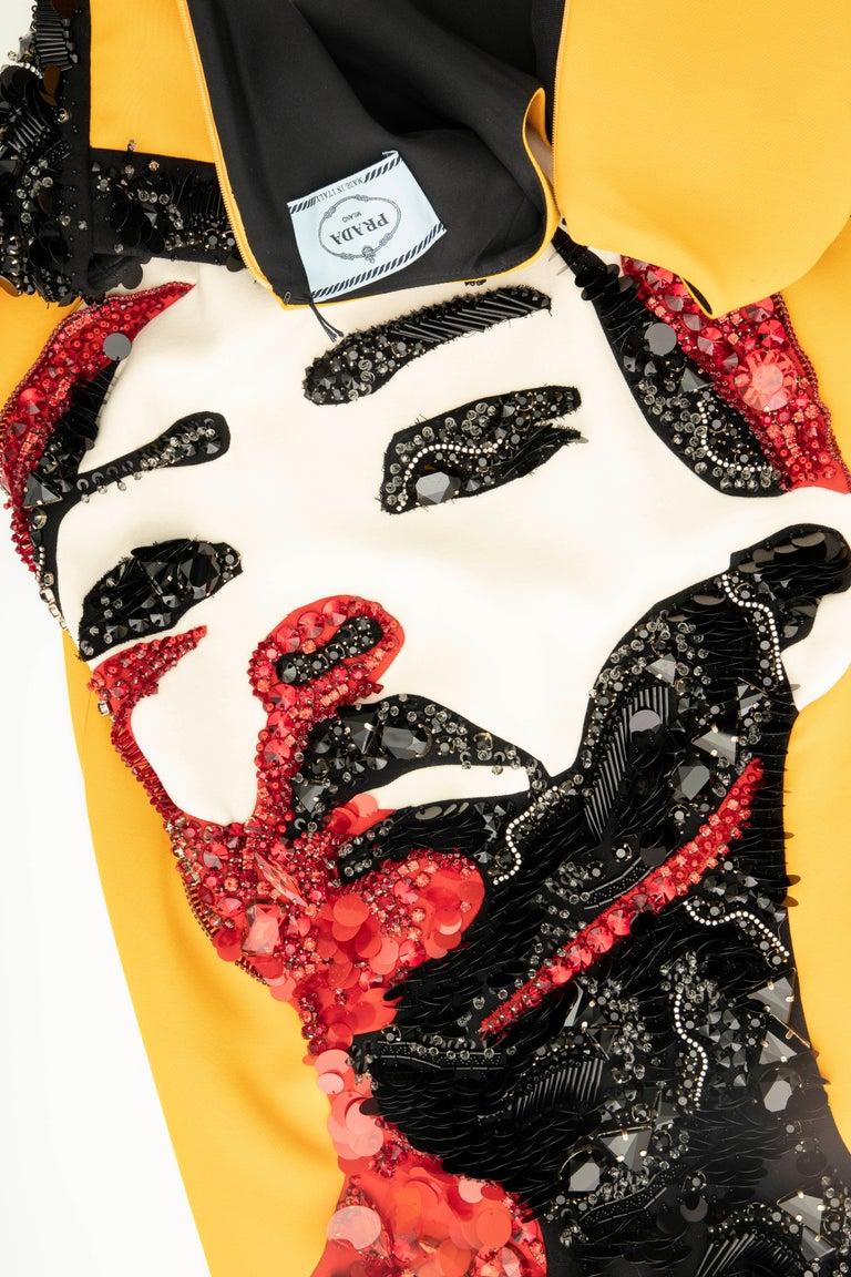 Prada Runway Wool Silk Sleeveless Bead Embroidery Shift Dress, Spring 2014 13