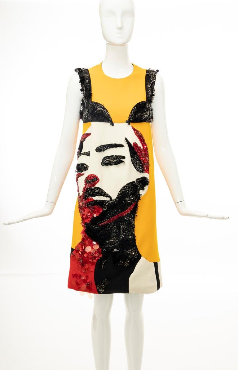 Prada Runway Wool Silk Sleeveless Bead Embroidery Shift Dress, Spring 2014 3