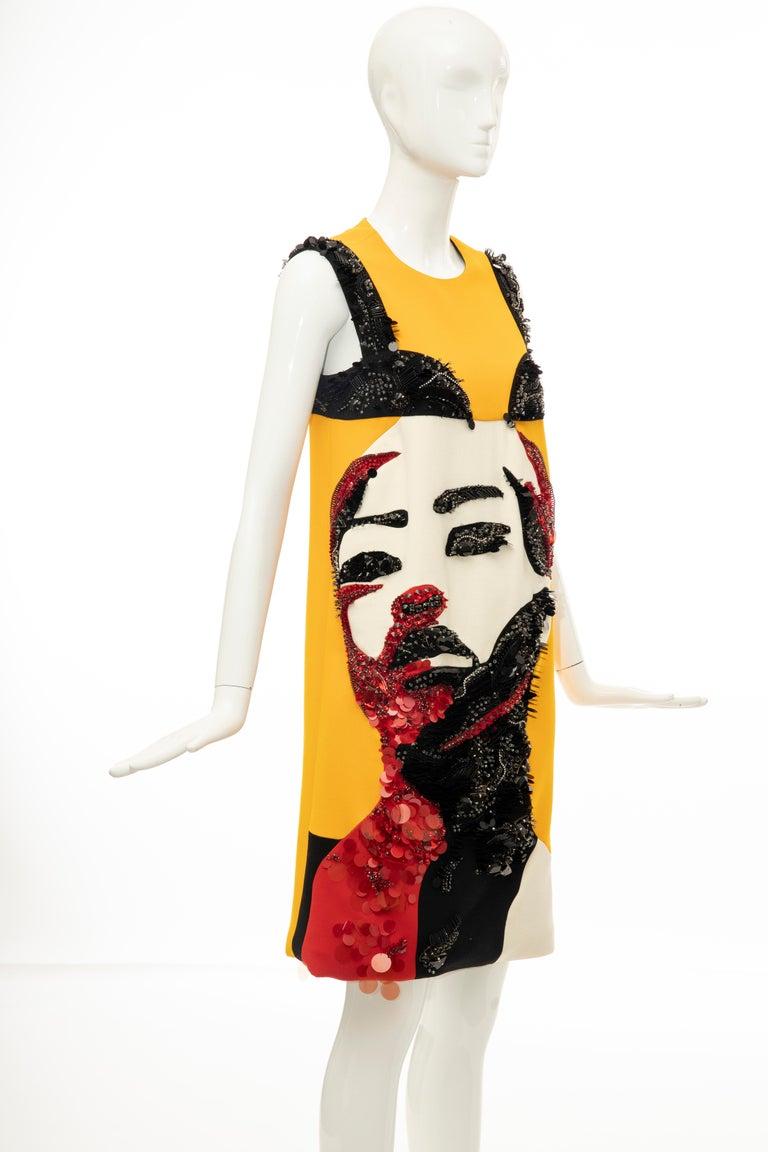 Prada Runway Wool Silk Sleeveless Bead Embroidery Shift Dress, Spring 2014 4