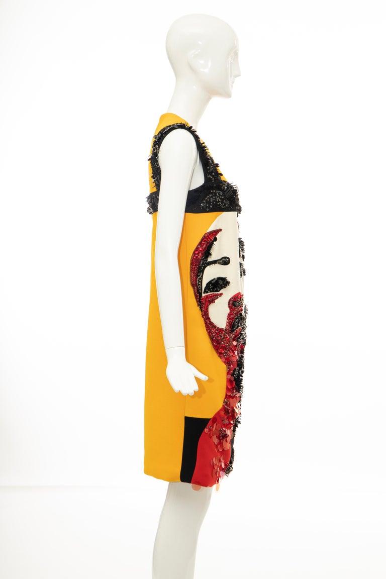 Prada Runway Wool Silk Sleeveless Bead Embroidery Shift Dress, Spring 2014 5