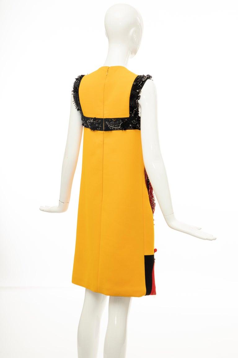 Prada Runway Wool Silk Sleeveless Bead Embroidery Shift Dress, Spring 2014 6