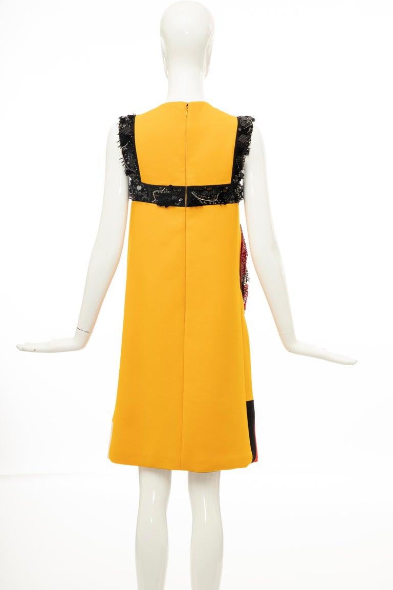 Prada Runway Wool Silk Sleeveless Bead Embroidery Shift Dress, Spring 2014 7