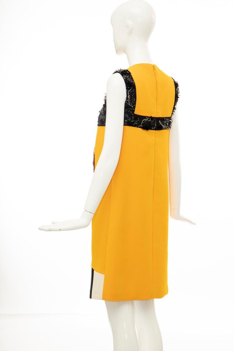 Prada Runway Wool Silk Sleeveless Bead Embroidery Shift Dress, Spring 2014 8