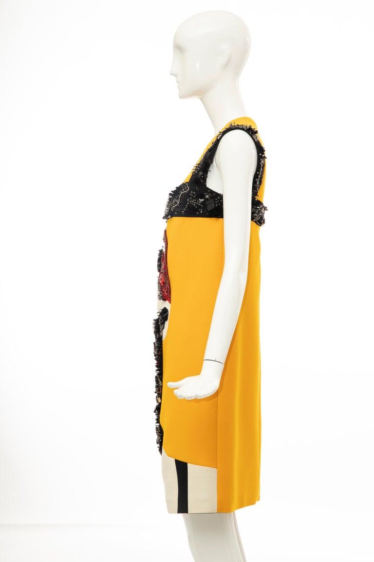 Prada Runway Wool Silk Sleeveless Bead Embroidery Shift Dress, Spring 2014 9