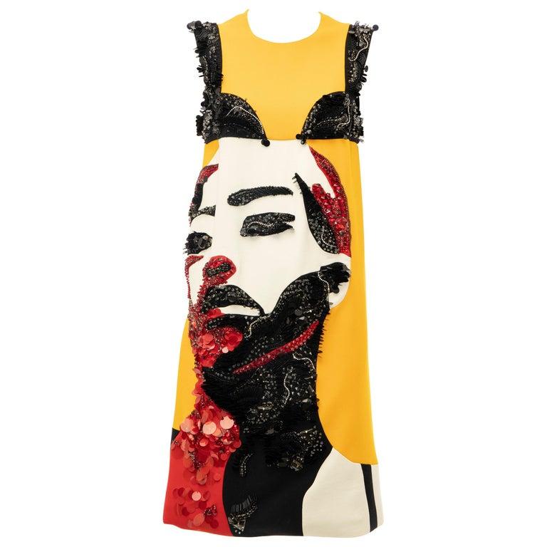 Prada Runway Wool Silk Sleeveless Bead Embroidery Shift Dress, Spring 2014 1